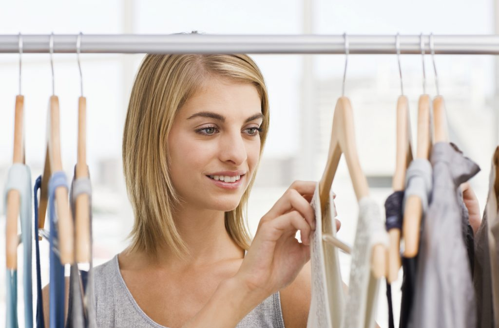 woman shopping for maternity clothing