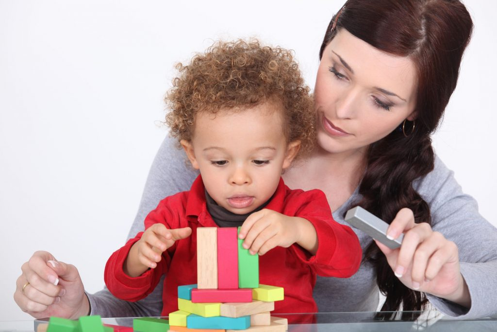 au pair with a child